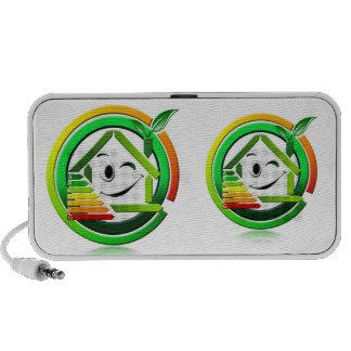 Doodle icon energeting saving travelling speakers