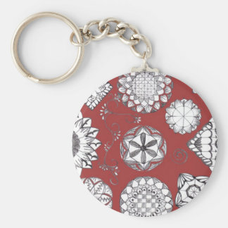 Doodle Key Ring Basic Round Button Keychain