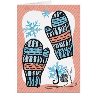 Doodle knittin crochet mittens Christmas holiday Card