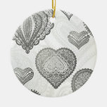 Doodle & lace grey hearts christmas ornaments