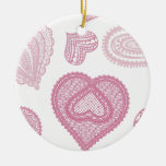Doodle & Lace pink hearts Ornaments