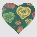 Doodle & Lace Sunset Leaf hearts Heart Sticker