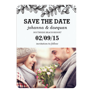 doodle leaves photo save the date 5x7 paper invitation card