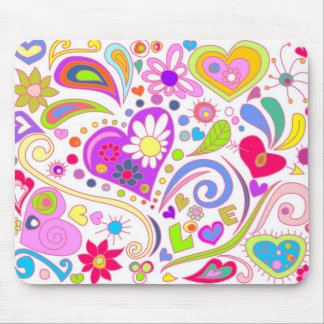 doodle love on white mouse pad