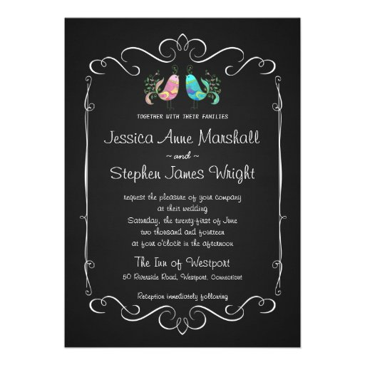 Doodle Lovebirds Chalkboard Wedding Custom Invitations