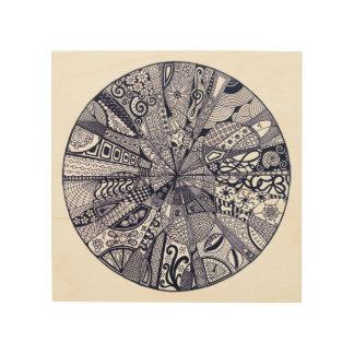 Doodle Mandala (black & white) Wood Wall Art
