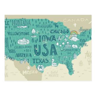 Doodle Map Of USA Postcard