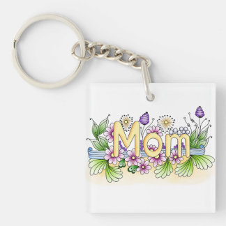 Doodle Mom Single-Sided Square Acrylic Keychain