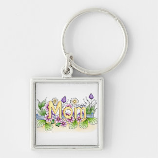 Doodle Mom Silver-Colored Square Keychain