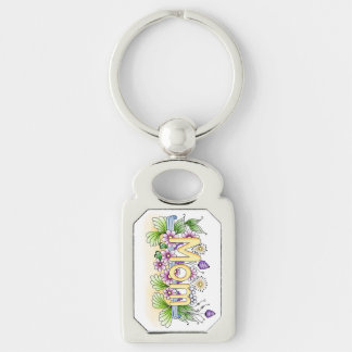 Doodle Mom Silver-Colored Rectangular Metal Keychain
