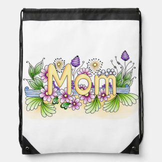 Doodle Mom Drawstring Backpacks
