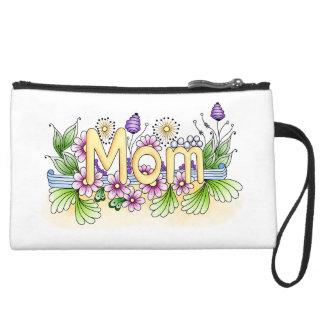 Doodle Mom Suede Wristlet Wallet