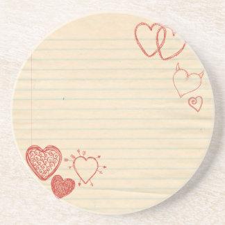 Doodle Notepad Love Letter Sandstone Coaster