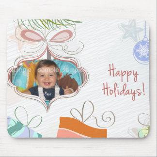 Doodle Ornament Photo Christmas Mousepad