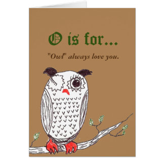 """""""Doodle Owl"""" Corny Love Note Card"""