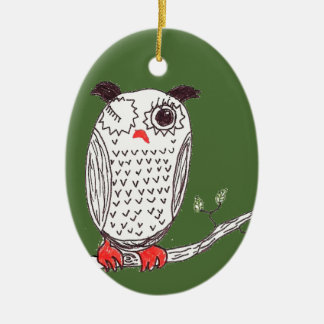 """""""Doodle Owl on a Branch"""" Ceramic Ornament"""