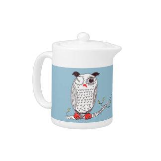 """Doodle Owl on a Branch"" Teapot"