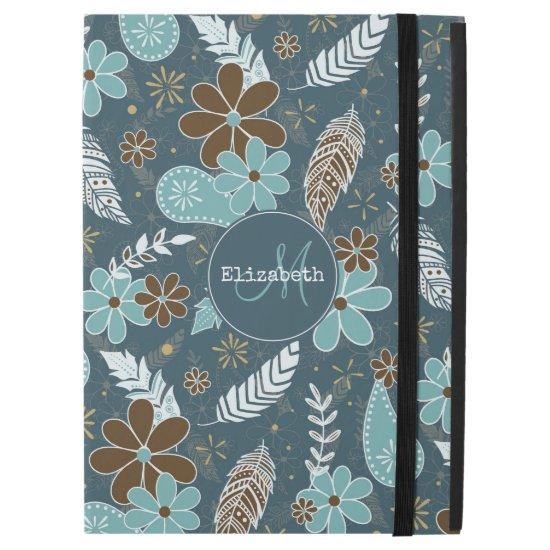 "doodle paisley feather flowery boho pattern teal iPad pro 12.9"" case"