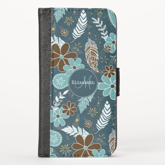 doodle paislies feathers flowers boho pattern teal iPhone x wallet case