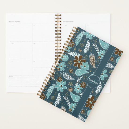 doodle paislies feathers flowers boho pattern teal planner
