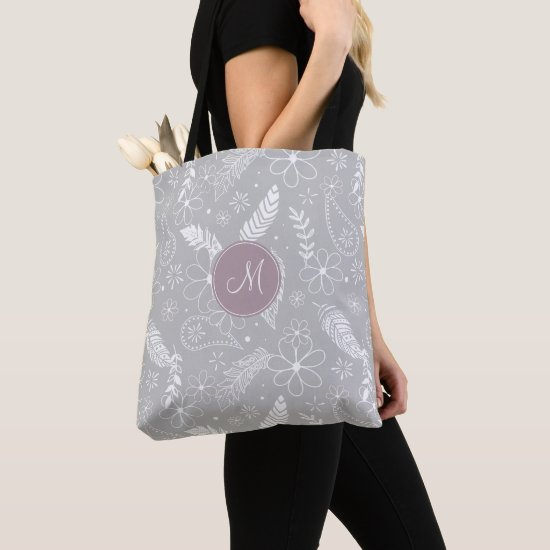 doodle paislies feathers flowers gray or ANY color Tote Bag