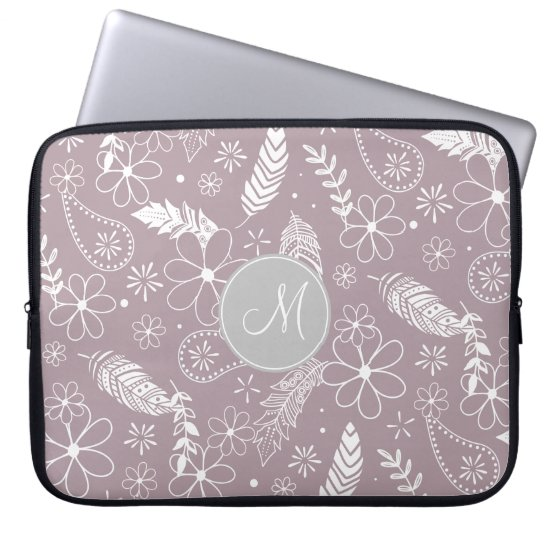 doodle paislies feathers flowers lilac ANY color Laptop Sleeve