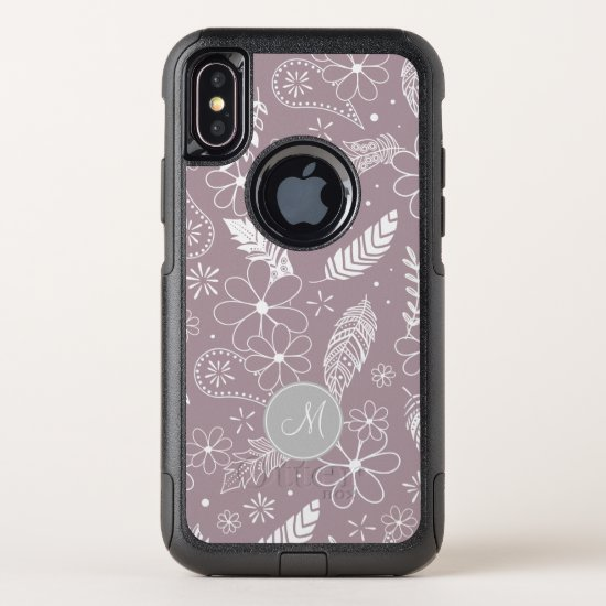 doodle paislies feathers flowers lilac ANY color OtterBox Commuter iPhone X Case
