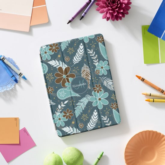doodle paislies feathers flowers pattern teal iPad pro cover