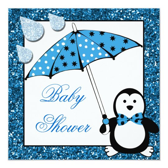 Doodle Penguin Boy Baby Shower Card