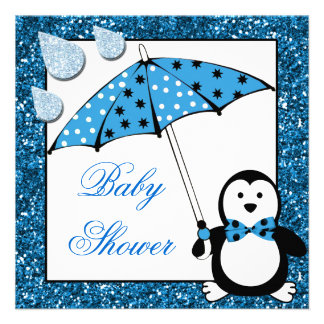 Doodle Penguin Boy Baby Shower Announcement