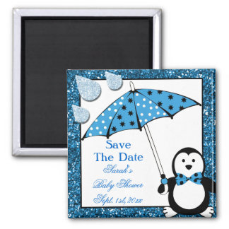 Doodle Penguin Boy Baby Shower Refrigerator Magnets