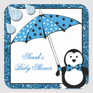 Doodle Penguin Boy Baby Shower Square Sticker