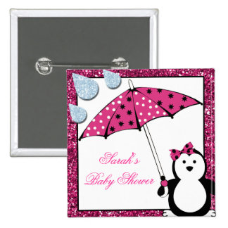 Doodle Penguin Girl Baby Shower 2 Inch Square Button
