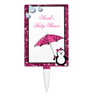 Doodle Penguin Girl Baby Shower Cake Toppers