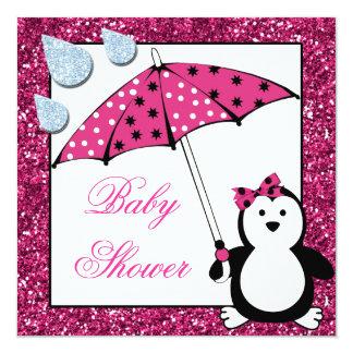 Doodle Penguin Girl Baby Shower Invitation