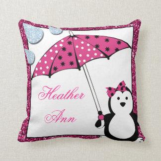 Doodle Penguin Girl Baby Shower Pillow