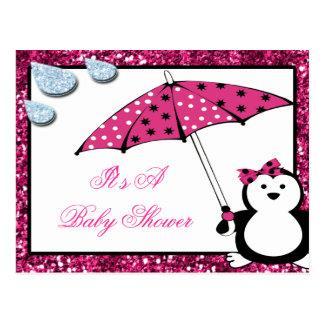 Doodle Penguin Girl Baby Shower Postcard