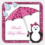 Doodle Penguin Girl Baby Shower Square Sticker