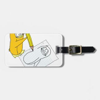 Doodle Penguin Luggage Tag