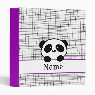 Doodle Personalized Purple Panda School Binder