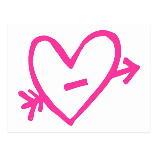Doodle Pink Cupid's Heart Post Cards