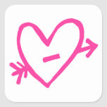 Doodle Pink Cupid's Heart Stickers