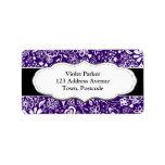 Doodle púrpura del estampado de flores etiquetas de dirección