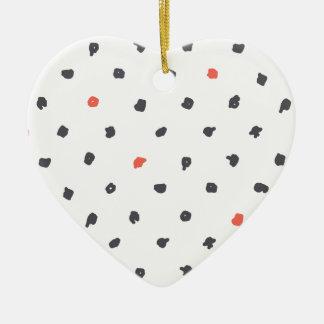Doodle que los puntos adorno navideño de cerámica en forma de corazón