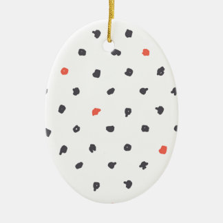 Doodle que los puntos adorno navideño ovalado de cerámica