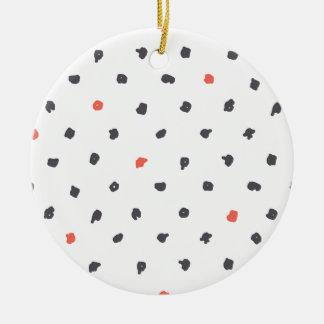 Doodle que los puntos adorno navideño redondo de cerámica