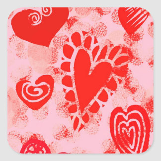 Doodle Red Valentine Heart Square Stickers