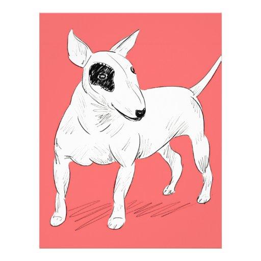 Doodle retro de bull terrier en fondo del plantillas de membrete