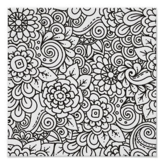 Doodle retro floral 2 póster