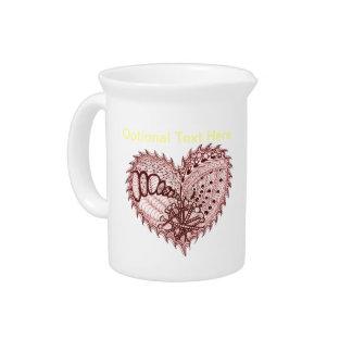 Doodle rojo del fuego del corazón jarra de beber